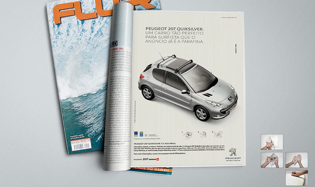Peugeot 207 Quiksilver | Anúncio impresso em parafina