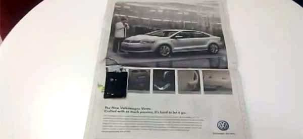 Volkswagen coloca anúncio falante em jornal da Índia