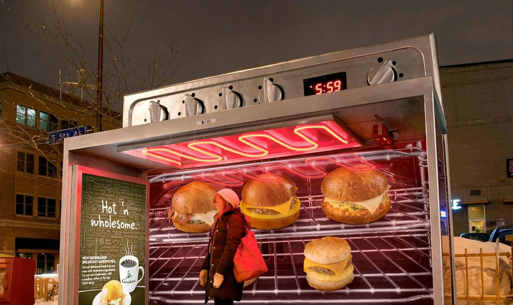Caribou Coffee transforma paradas de ônibus em fornos elétricos