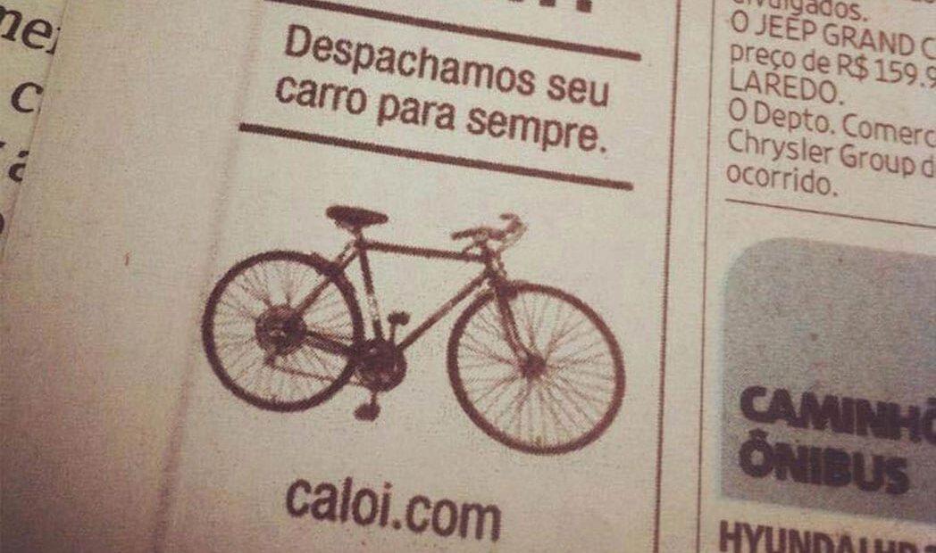 Caloi investe em classificado de jornal para incentivar o uso de bicicletas