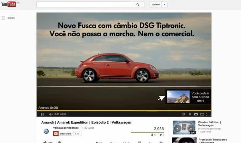 Novo fusca em comercial de 5 segundos no Youtube