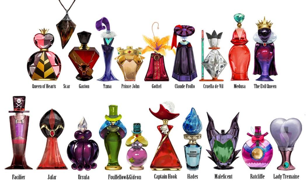 Frascos de perfumes inspirados nos vilões e vilãs da Disney