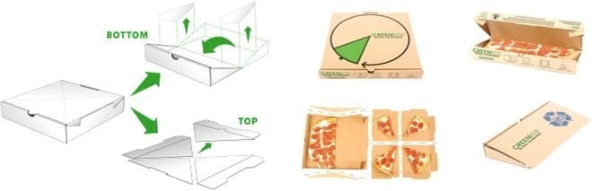Green Box New York Pizza Box Turns into Plates And Storage Unit Scheme