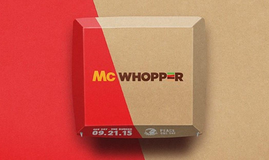 Em prol da paz, Burger King convida McDonald's para criar o McWhopper