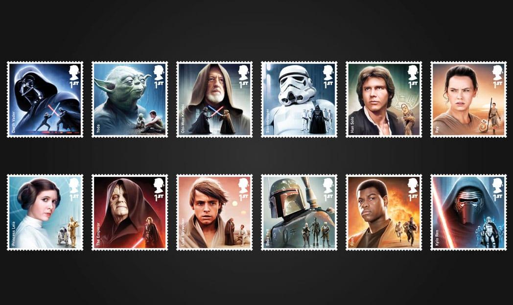Correio britânico celebra novo Star Wars com selos comemorativos