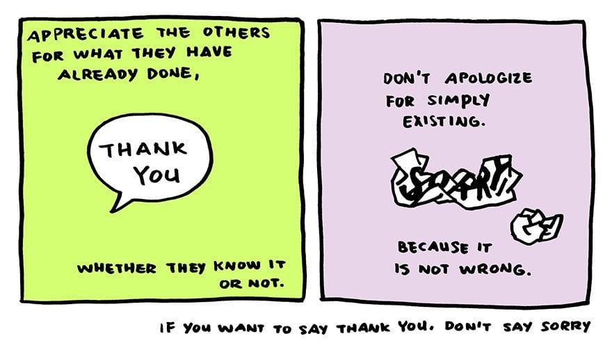 Quadrinhos ensinam: Muito obrigado é melhor que desculpa