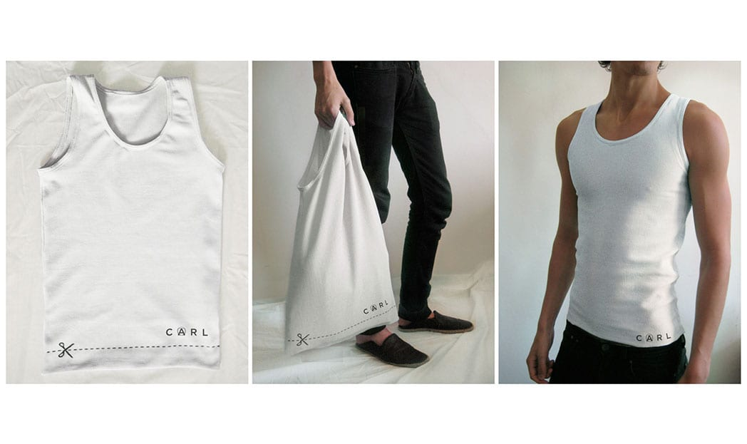 Uma sacola de compras que vira uma camiseta regata