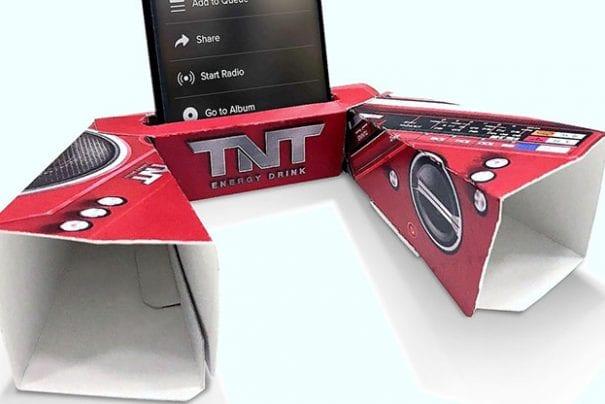 TNT transforma embalagem em amplificador de som